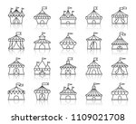 circus tent thin line icons set.... | Shutterstock .eps vector #1109021708