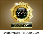gold shiny badge with bike... | Shutterstock .eps vector #1109052626