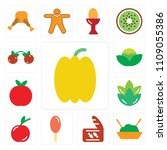 set of 13 simple editable icons ... | Shutterstock .eps vector #1109055386