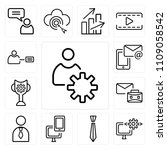 set of 13 simple editable icons ... | Shutterstock .eps vector #1109058542