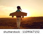 teenager with toy airplane on... | Shutterstock . vector #1109067152