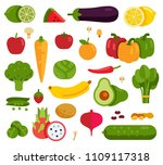 set of fruits and vegetables in ... | Shutterstock .eps vector #1109117318