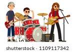 rock band musicians in concert... | Shutterstock .eps vector #1109117342