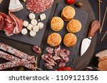 appetizers table with... | Shutterstock . vector #1109121356