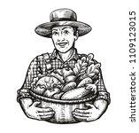 happy farmer holds a wicker... | Shutterstock .eps vector #1109123015