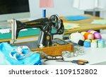 retro sewing machine on... | Shutterstock . vector #1109152802