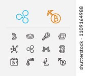 blockchain icons set. coin...