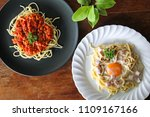 spaghetti carbonara with egg... | Shutterstock . vector #1109167166
