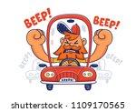 driver in traffic jam. vector...   Shutterstock .eps vector #1109170565