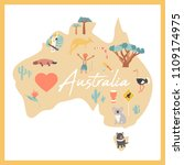 australian map with landmarks... | Shutterstock .eps vector #1109174975