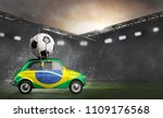 brazil flag on car delivering... | Shutterstock . vector #1109176568