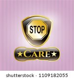 shiny emblem with stop icon... | Shutterstock .eps vector #1109182055