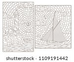 set of contour illustrations of ... | Shutterstock .eps vector #1109191442