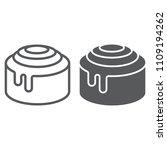 cinnamon bun roll line and... | Shutterstock .eps vector #1109194262