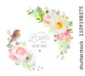 floral vector round frame with... | Shutterstock .eps vector #1109198375