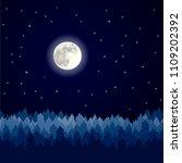 night landscape  pine forest... | Shutterstock .eps vector #1109202392
