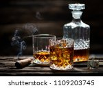 cigar and glass with whiskey... | Shutterstock . vector #1109203745