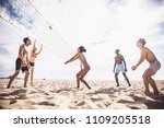group of friends playing beach... | Shutterstock . vector #1109205518