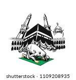 muslim boy praying   namaz ... | Shutterstock .eps vector #1109208935