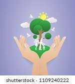 human two hand holding tree... | Shutterstock .eps vector #1109240222