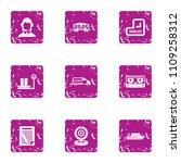 request cargo icons set. grunge ... | Shutterstock .eps vector #1109258312