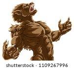 werewolf wolf man scary horror... | Shutterstock .eps vector #1109267996