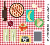 picnic basket and red cloth.... | Shutterstock .eps vector #1109268248