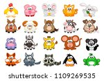 big set cute cartoon triangular ... | Shutterstock . vector #1109269535