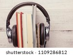 some books with headphones | Shutterstock . vector #1109286812