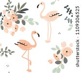 blush pink flamingo and floral... | Shutterstock .eps vector #1109306525