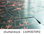 photo big dark tarot cards.... | Shutterstock . vector #1109307092