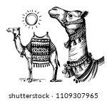 sketch of camel. hand drawn... | Shutterstock .eps vector #1109307965