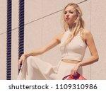 elegant fashionable woman... | Shutterstock . vector #1109310986