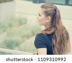 happy teen woman enjoying her... | Shutterstock . vector #1109310992