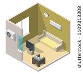 isometric living room interiors ... | Shutterstock .eps vector #1109313308