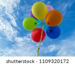colorful balloons on blue sky... | Shutterstock . vector #1109320172
