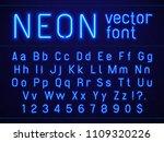 bright glowing blue neon... | Shutterstock .eps vector #1109320226