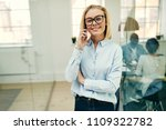 smiling young businesswoman... | Shutterstock . vector #1109322782
