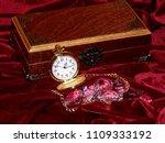 a handmade mahogany casket with ...   Shutterstock . vector #1109333192