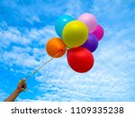 colorful balloons on blue sky... | Shutterstock . vector #1109335238