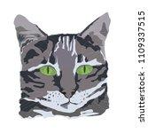 gray cat head vector tatoo with ...   Shutterstock .eps vector #1109337515