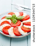 tomatoes  mozzarella cheese ... | Shutterstock . vector #1109344715