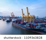 aerial view of container cargo... | Shutterstock . vector #1109363828