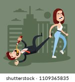 angry woman wife carry drunk... | Shutterstock .eps vector #1109365835