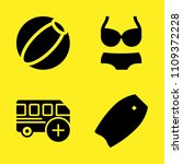 bus  bodyboard  beach ball and...   Shutterstock .eps vector #1109372228