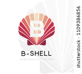 seashell logo with b letter.... | Shutterstock .eps vector #1109386856
