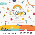 playful diploma template for... | Shutterstock .eps vector #1109392352