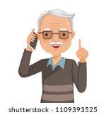 elderly man on phone and... | Shutterstock .eps vector #1109393525