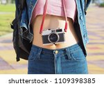 tourist with backpack and... | Shutterstock . vector #1109398385