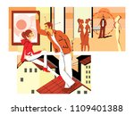 flirting at a party and sitting ... | Shutterstock . vector #1109401388
